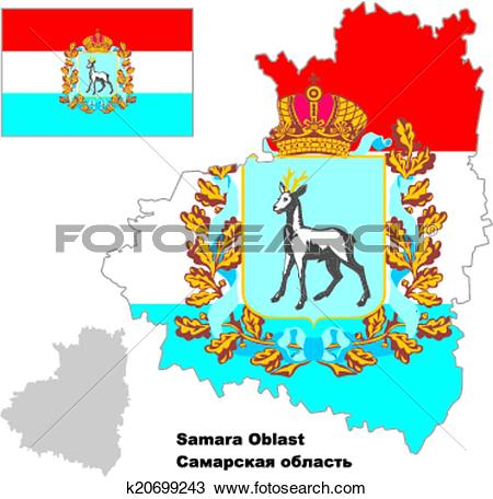 Clipart of outline map of Samara Oblast with flag k20699243.