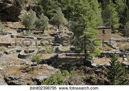 "Stock Image of ""Ruins of Samaria, Samaria Gorge, Crete, Greece."