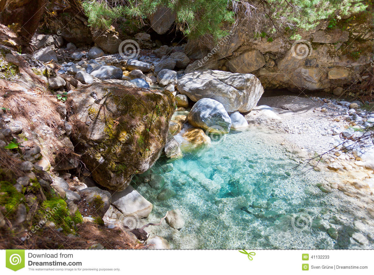 Natural Pool Within The Samaria Gorge Stock Photo.