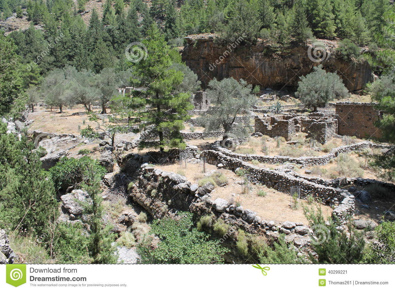 Samaria Village In Samaria Gorge Stock Photo.