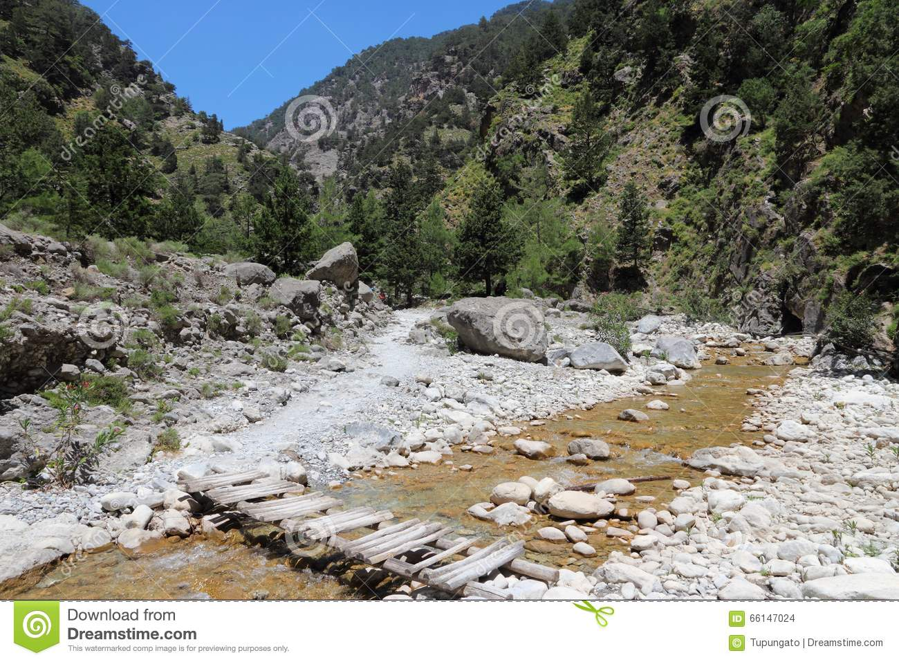 Samaria Gorge Hike Stock Photo.