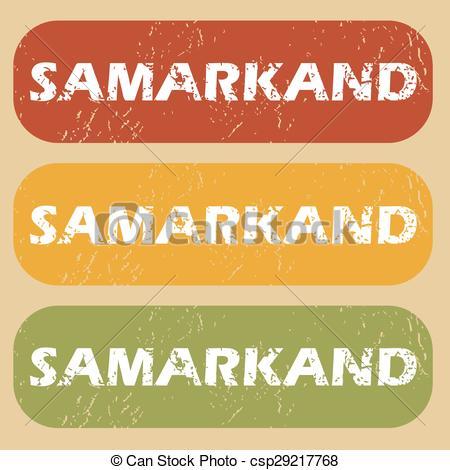 Clip Art Vector of Vintage Samarkand stamp set.