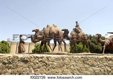 Stock Images of Uzbekistan, Samarkand, statue of camel caravan.