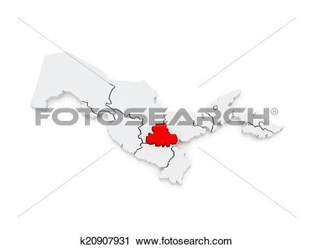Clipart of Map of Samarkand region. Uzbekistan. k20907931.
