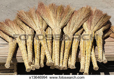 Stock Photo of Handmade brooms at market, Samarkand, Uzbekistan.