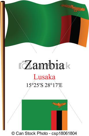 Vektor Clipart von Sambia, wellig, Fahne, Koordinaten.