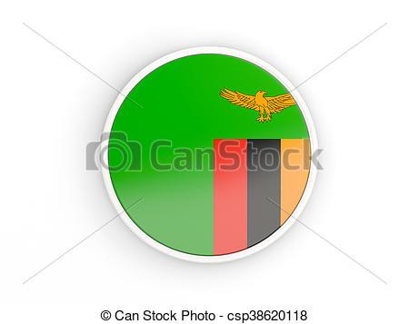 Clipart von Rahmen, Ikone, Fahne, Sambia, runder.