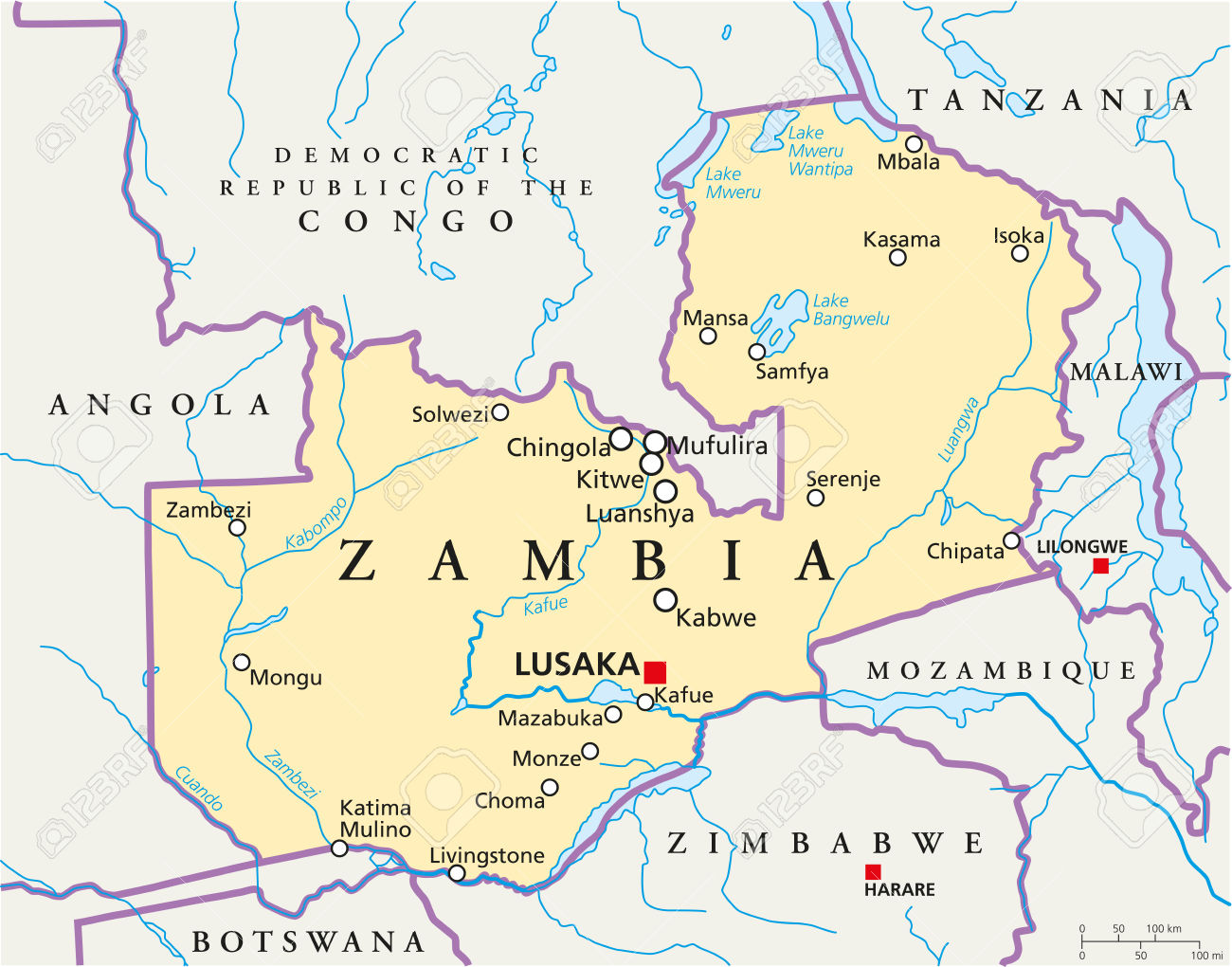 Zambia Political Map With Capital Lusaka, National Borders, Most.
