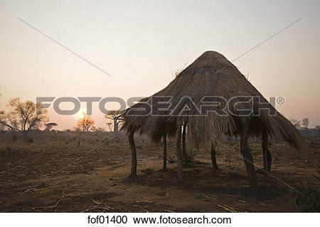 Stock Photography of Africa, Sambia, African hut fof01400.