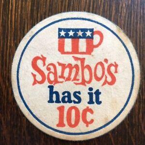 Details about 1970\'s SAMBO\'S Restaurant Vintage DRINK COASTER.