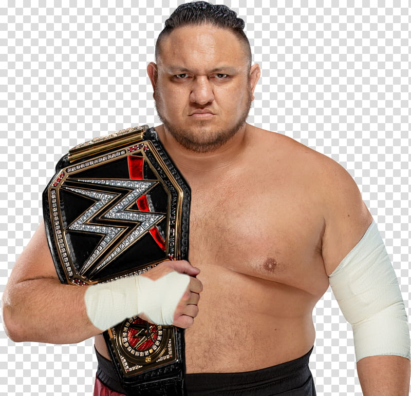 Samoa Joe WWE Champion Custom transparent background PNG.