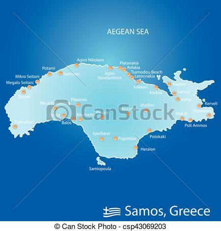 Vector Clipart of island of Samos in Greece map illustration in.