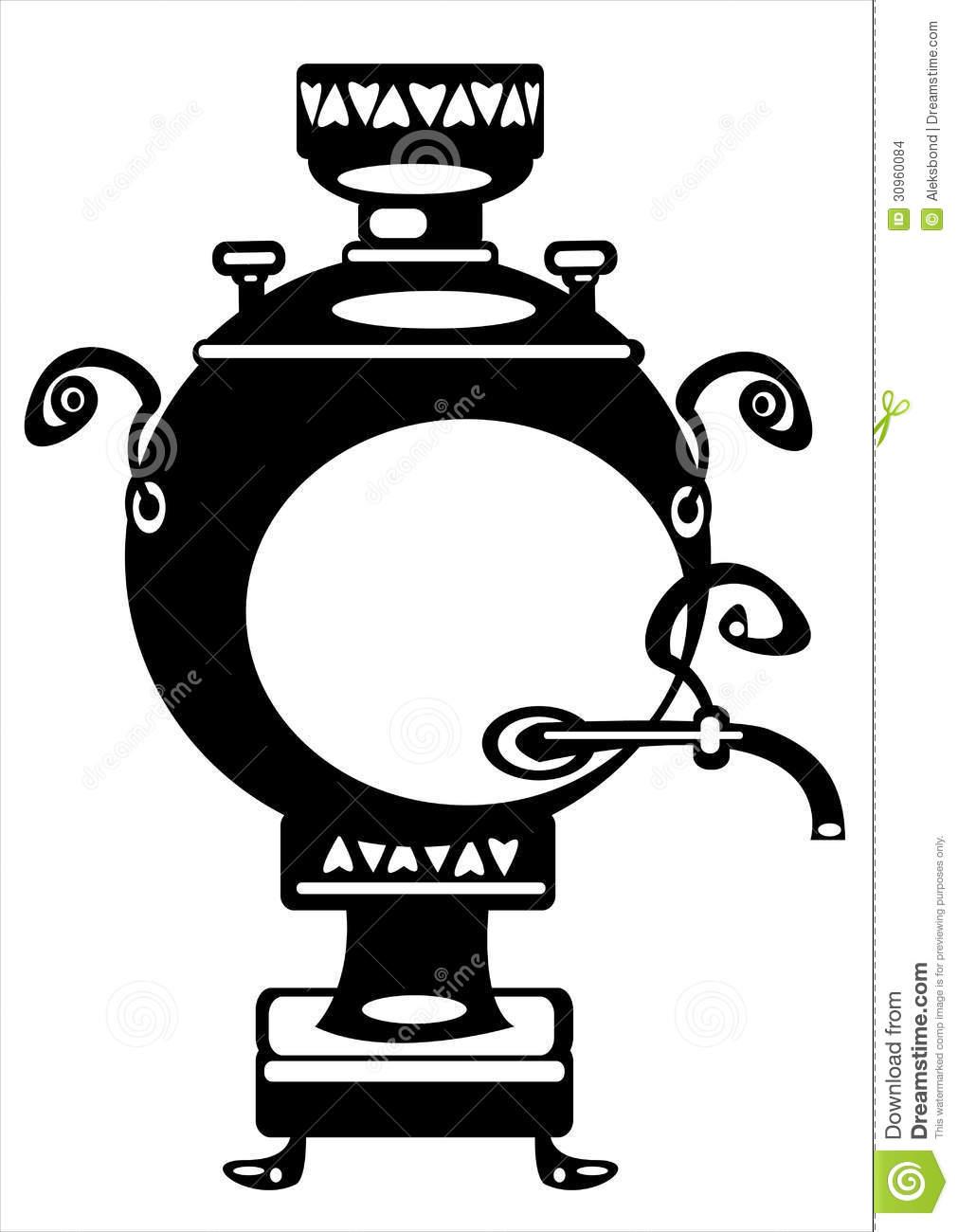 Vector Illustration Samovar On White Stock Images.
