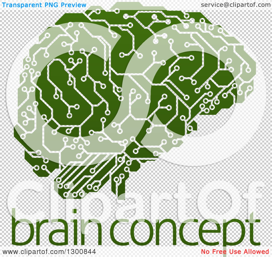 Clipart of a Green Artificial Intelligence Circuit Board Brain.