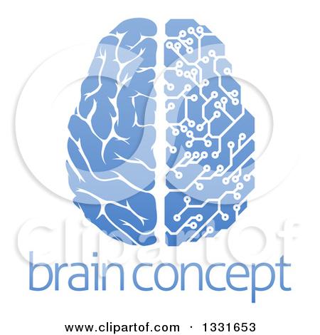 Clipart of a Blue Half Human, Half Artificial Intelligence Circuit.