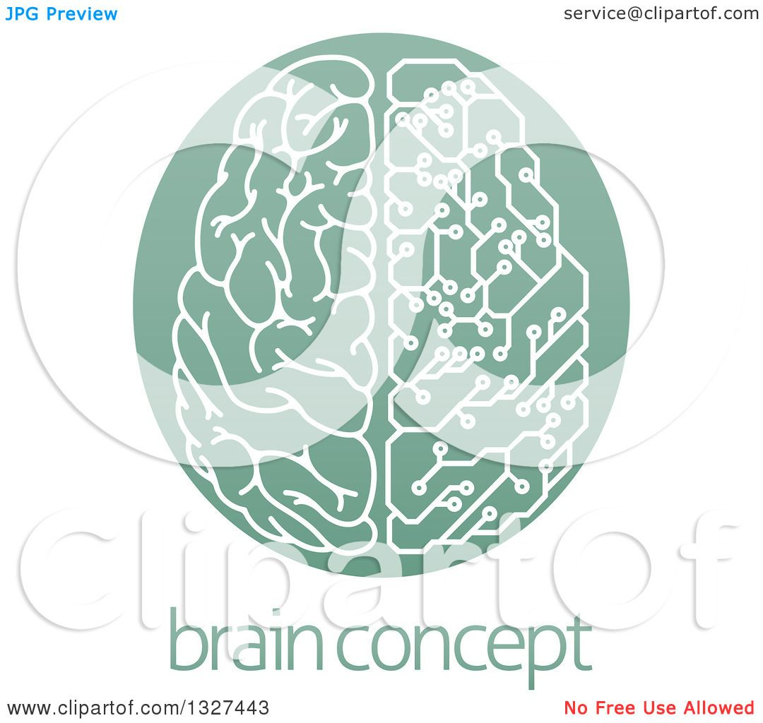 Clipart of a Half Human, Half Artificial Intelligence Circuit.