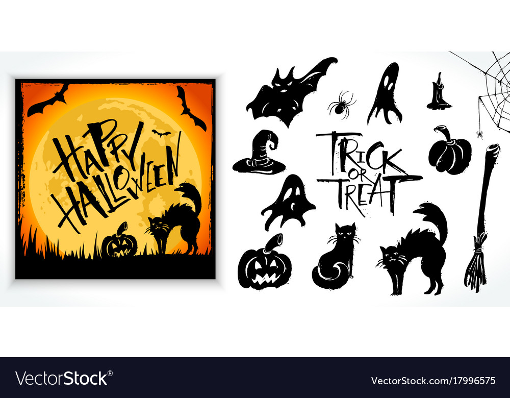 Halloween clipart set with card sample.