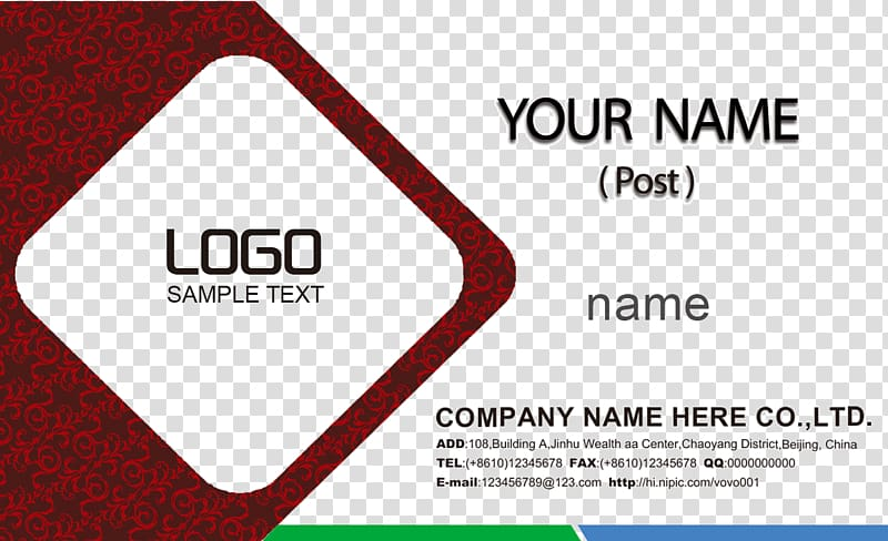 Logo Sample Text, Business card , Art wove card transparent.