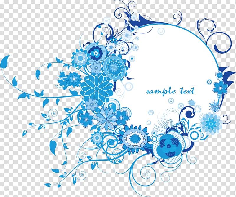 Sample text floral illustration, Texture Free blue border.
