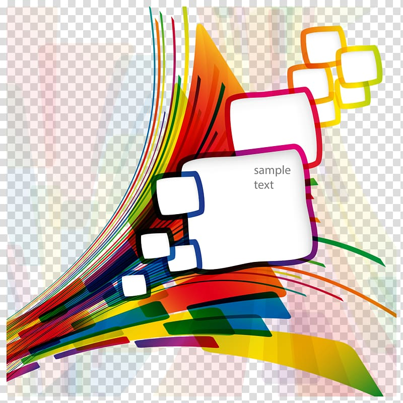 Pink, green, yellow, and blue sample text illustration.