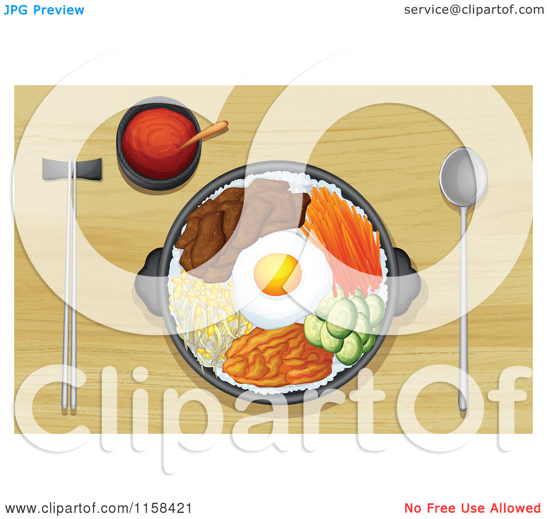Clipart of a Sampler Plate with Egg and Beef Served on a Wood.