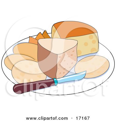Sampler Tray of Cheeses With a Knife Clipart Illustration by Maria.