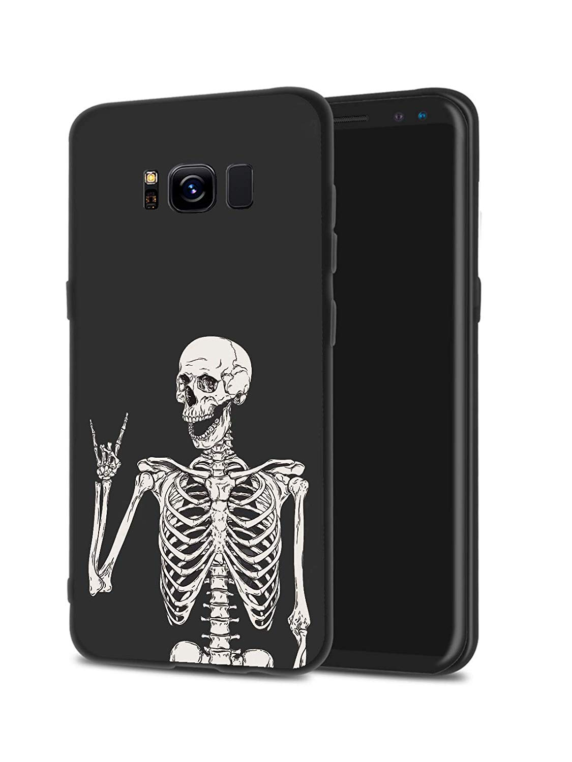 LuGeKe Skeleton Phone Case Cover for Samsung Galaxy S8 Smile Skull Printed  Phone Cover Shell Frame for Samsung Galaxy Drop Protection Reinforced.