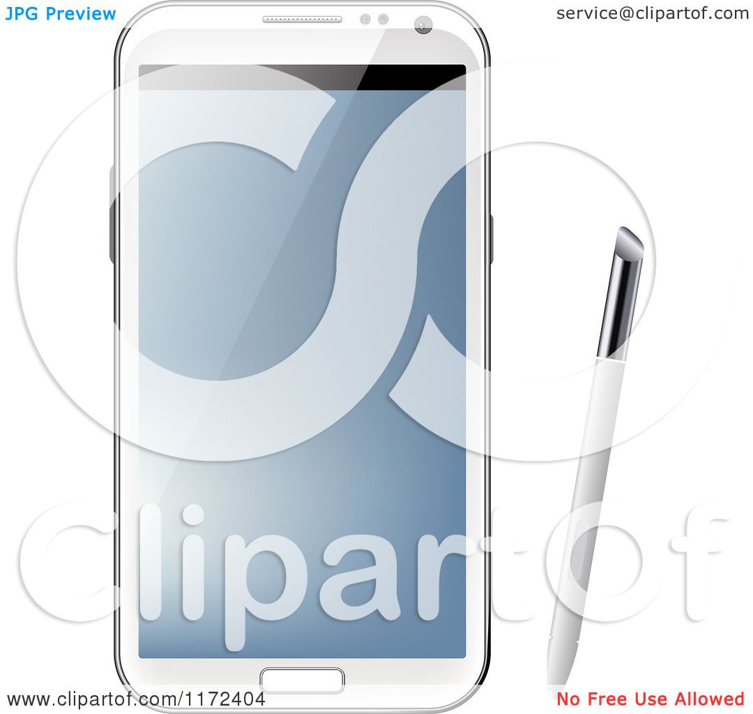 Clipart of a White Samsung Galaxy Note with Stylus Pen.