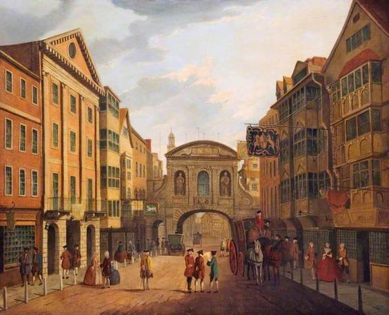 Fleet Street and Temple Bar by Samuel Scott (style of), 1765.