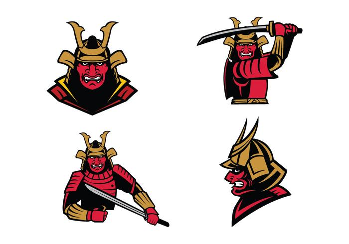 Samurai Warrior Mascot Vector.