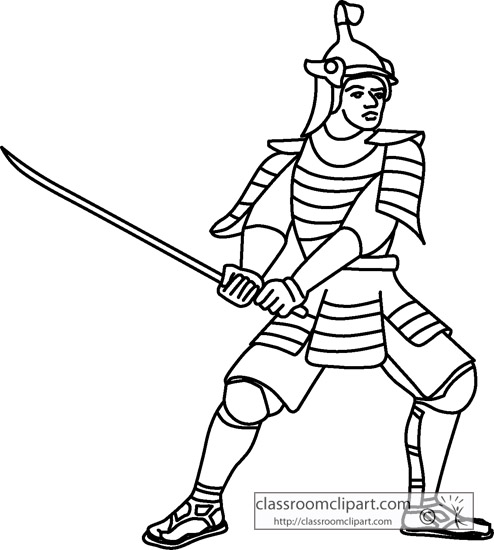 Samurai Black And White Clipart.