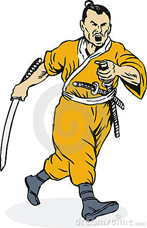Samurai Warrior Sword Fighting Stance Stock Illustrations.