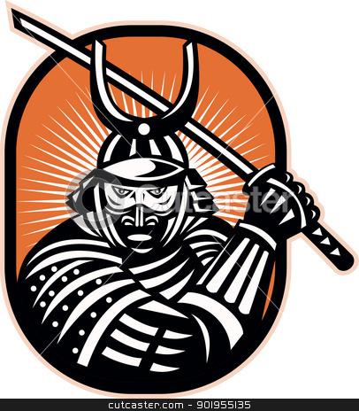 Japanese Samurai Warrior Sword Retro stock vector.
