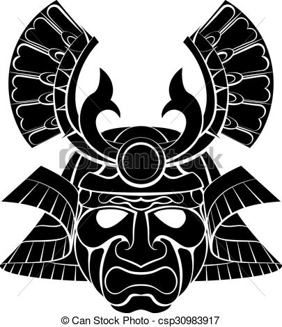 Vector Clip Art of Samurai Mask.
