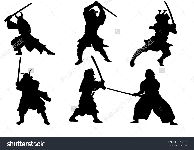 Set Samurai Warrior Vector Silhouette Stock Vector 125161859.