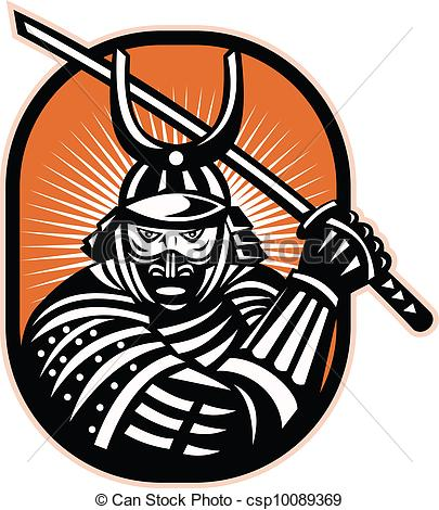 Clip Art Vector of Japanese Samurai Warrior Sword Retro.