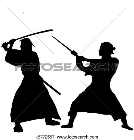 Clip Art of Two Samurai fighter silhouette k5772657.