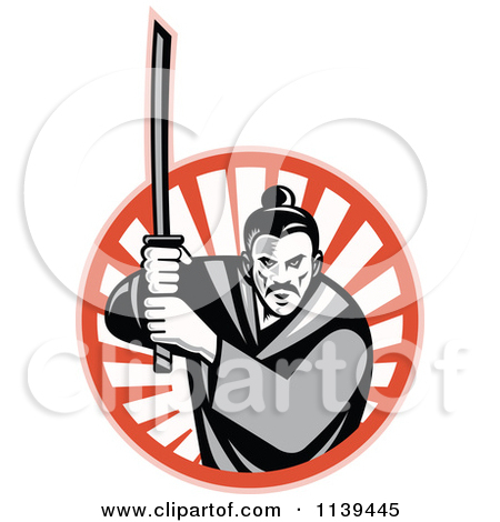 Clipart Samurai Warrior With Katana Swords.