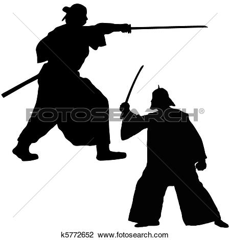 Clipart of Two Samurai fighter k5772652.