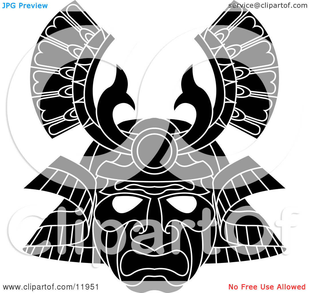 Asian Samurai Warrior Mask Clipart Illustration by.