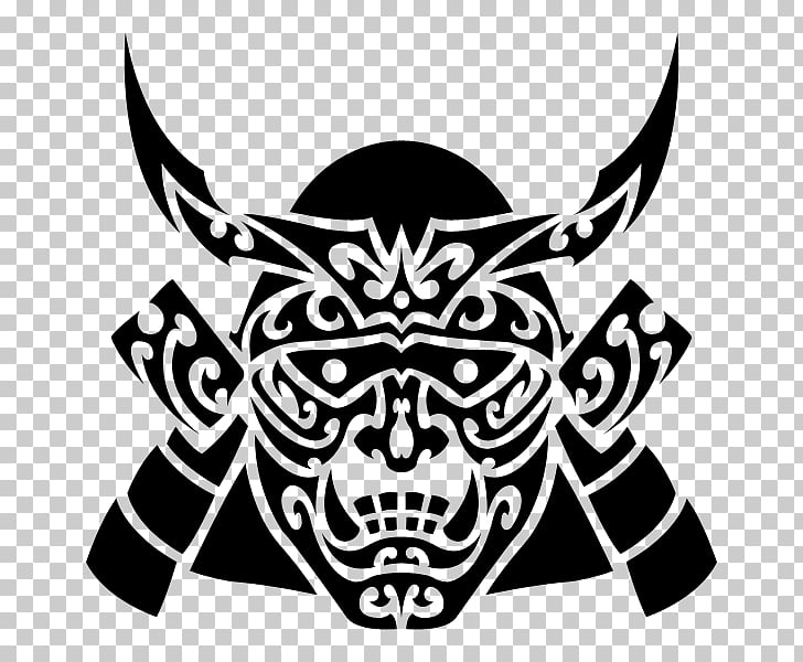 Samurai Mask Drawing Black and white, samurai PNG clipart.