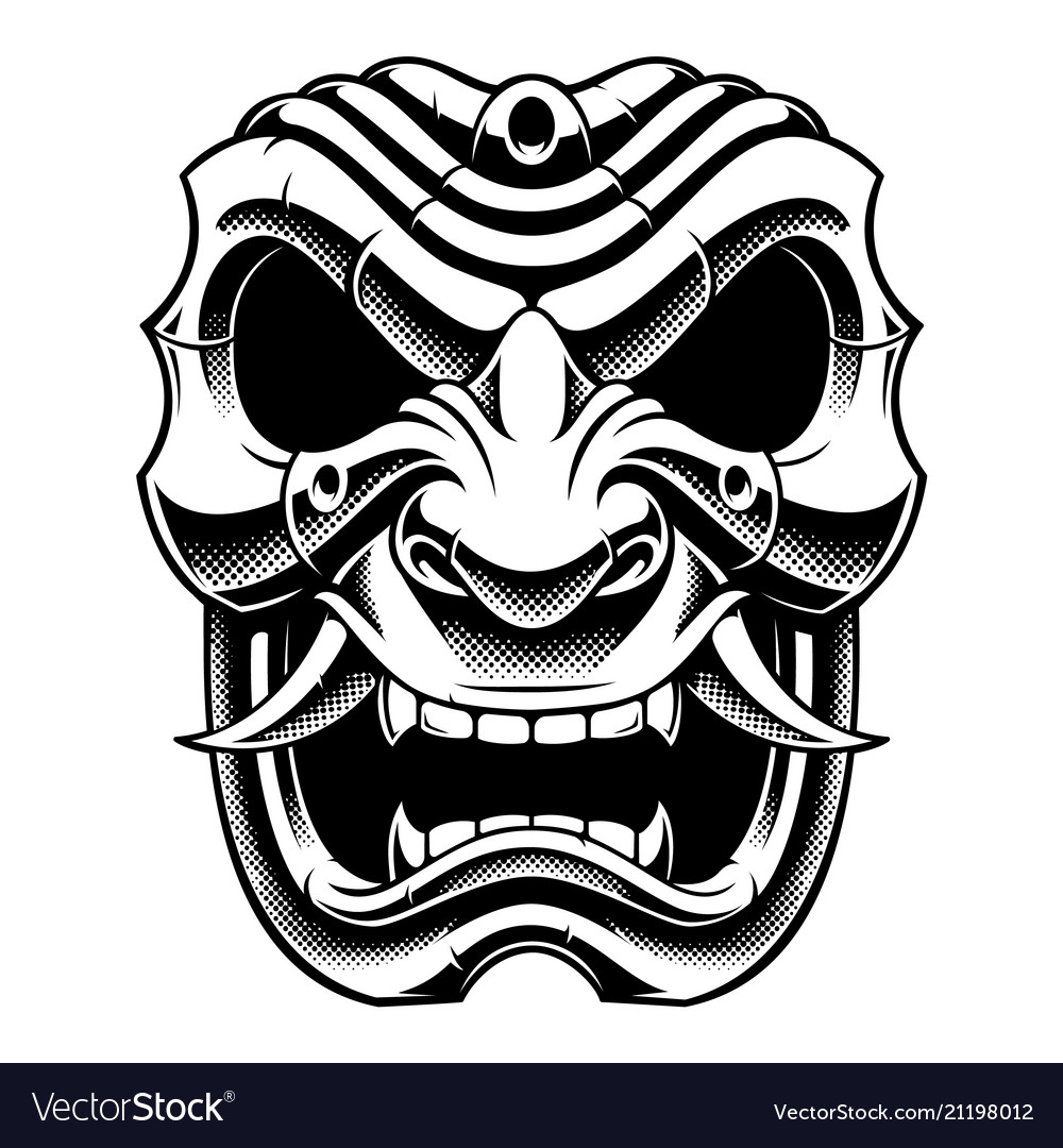 Samurai warrior mask bw version.