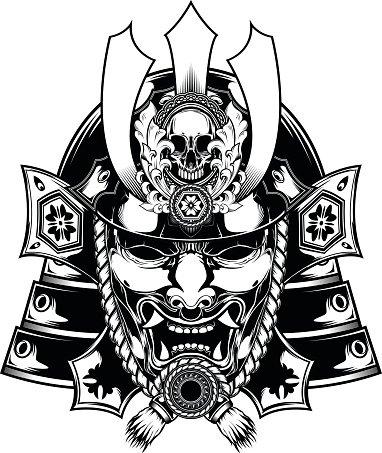Samurai mask Japanese Clipart Image.