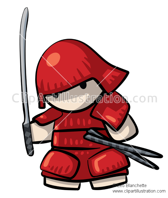ClipArt Illustration Miniture Japanese Swordsman, Red Samurai.