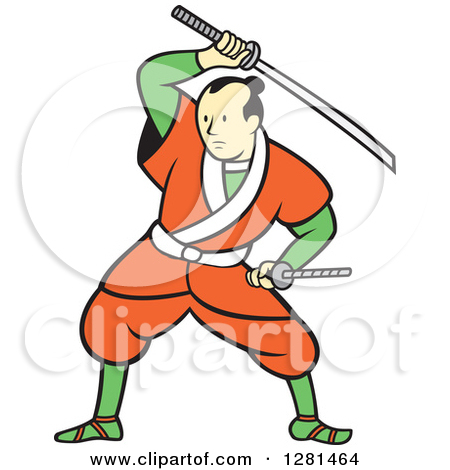 Clipart of a Retro Samurai Warrior with a Catana Sword in an Oval.