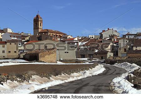 Pictures of snow village Teruel Province Spain San Agustin.
