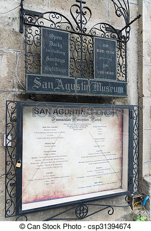 Picture of san agustin church information shield.