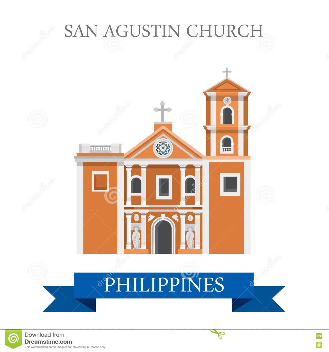 San Agustin Church Manila Philippines Vector Flat Attraction Stock.