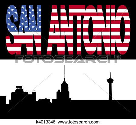 Stock Illustration of San Antonio Skyline with flag text k4013346.