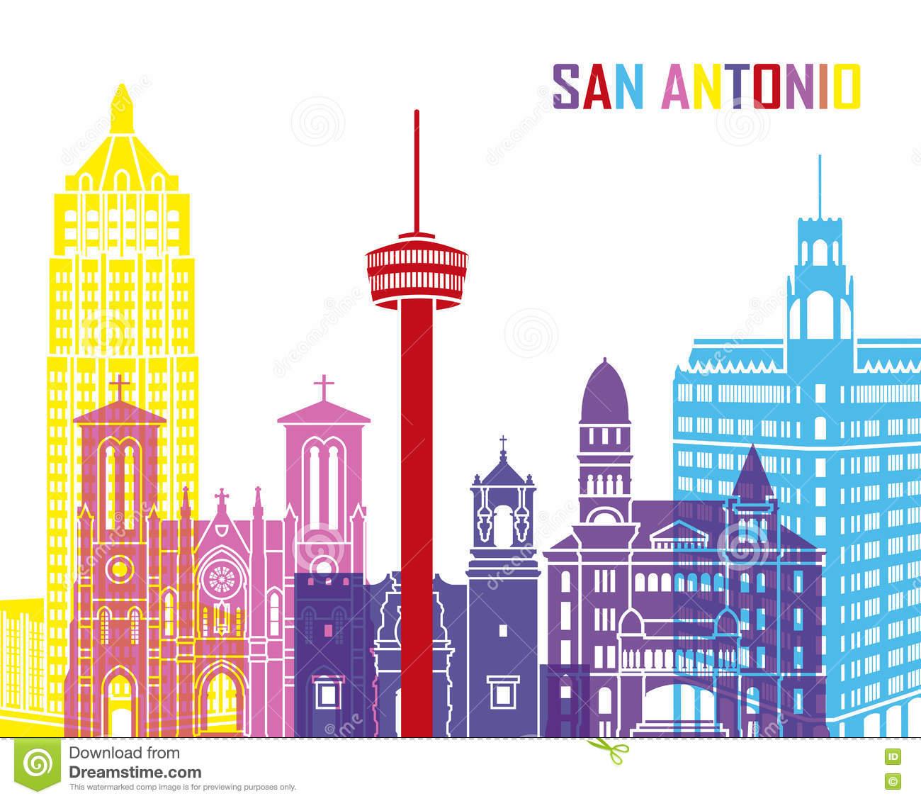 San Antonio Skyline Pop Stock Vector.